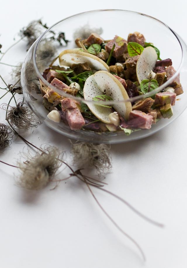 Salade gourmande de fêtes terrine foie gras abricot pistache