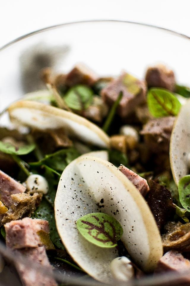Salade gourmande terrine foie gras abricot pistache